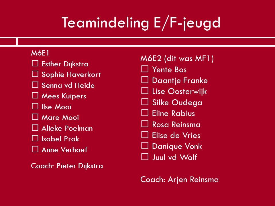 Teamindeling E/F-jeugd