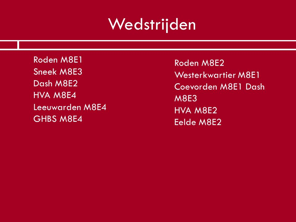 Wedstrijden Roden M8E1 Sneek M8E3 Dash M8E2 HVA M8E4 Leeuwarden M8E4 GHBS M8E4. Roden M8E2.