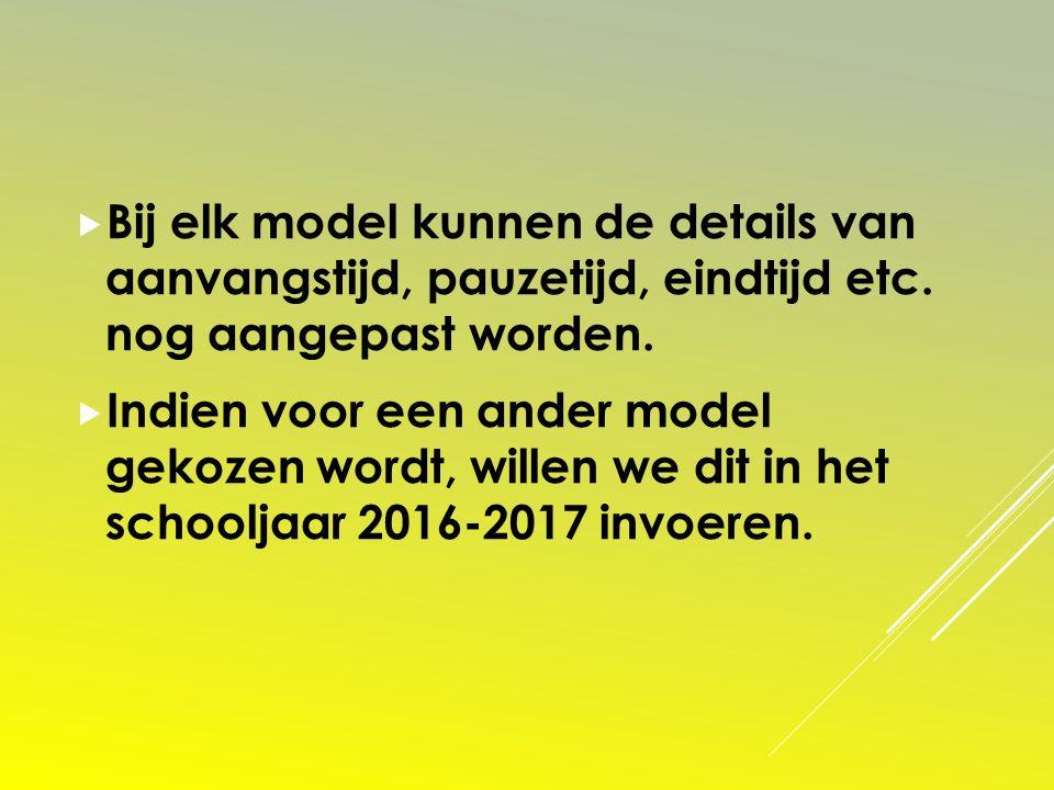 Bij elk model kunnen de details van aanvangstijd, pauzetijd, eindtijd etc. nog aangepast worden.