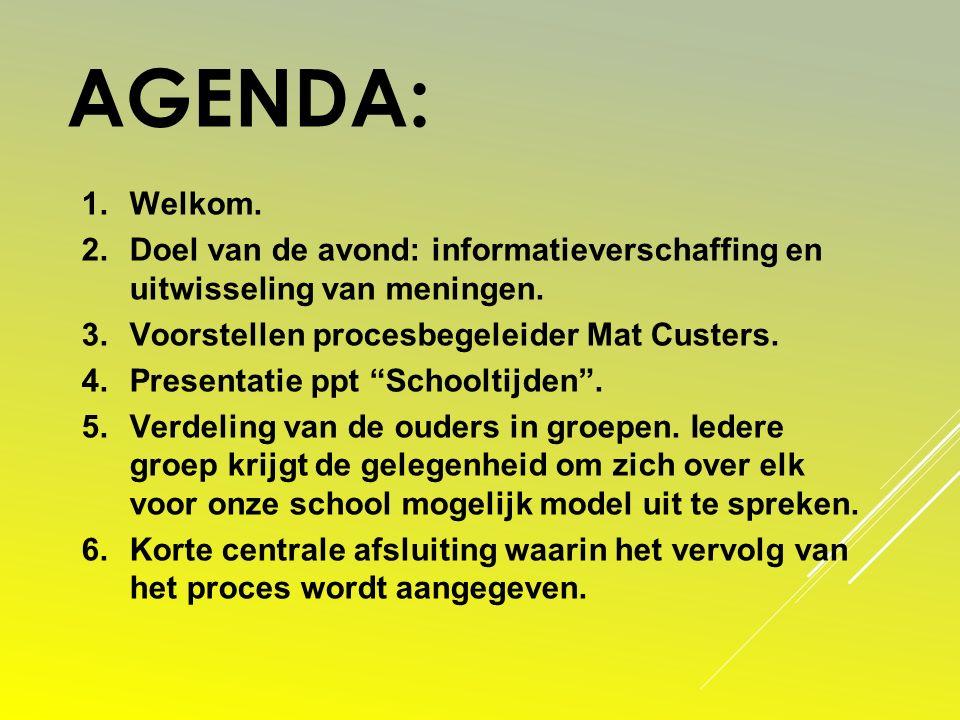 Agenda: Welkom. Doel van de avond: informatieverschaffing en uitwisseling van meningen. Voorstellen procesbegeleider Mat Custers.