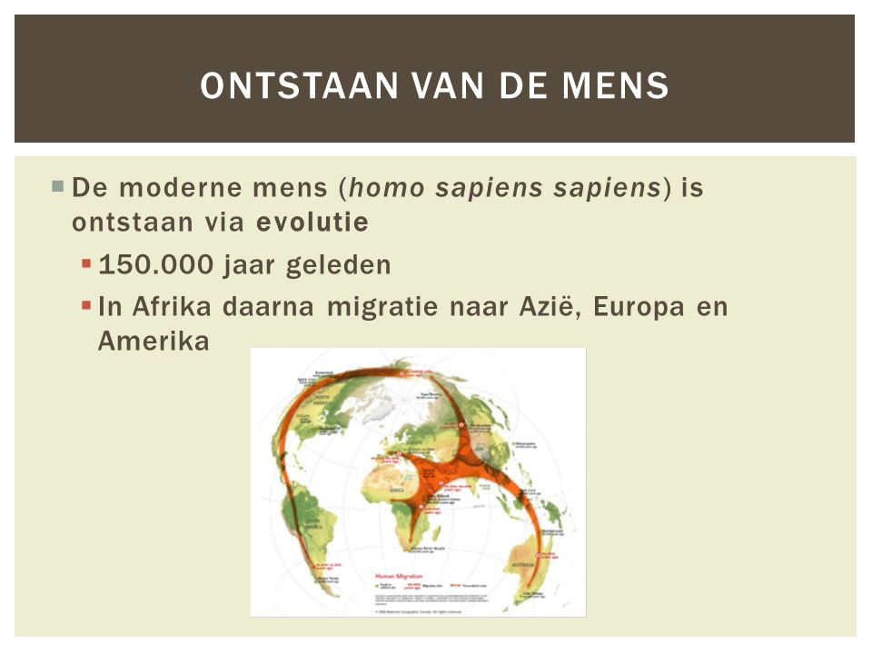 Ontstaan van de mens De moderne mens (homo sapiens sapiens) is ontstaan via evolutie. 150.000 jaar geleden.