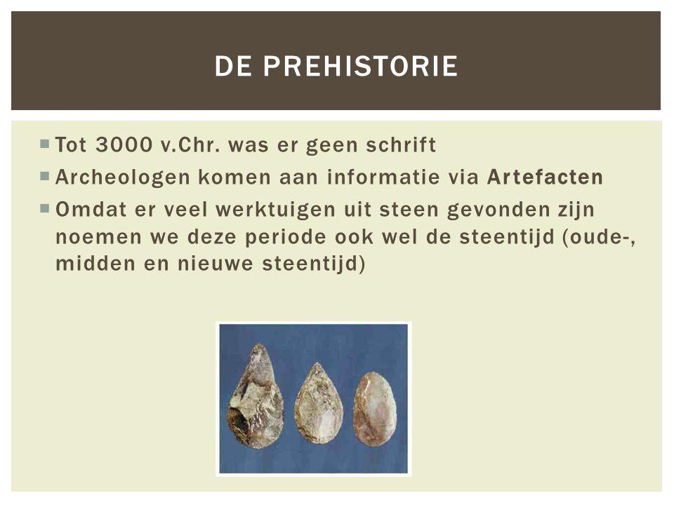 De prehistorie Tot 3000 v.Chr. was er geen schrift