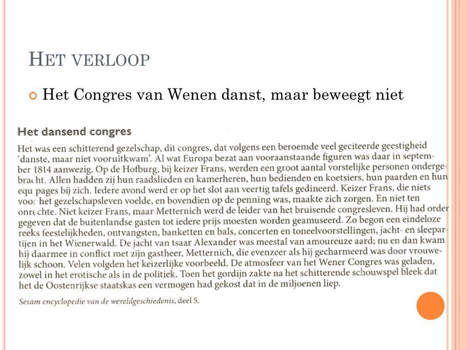 Het verloop Het Congres van Wenen danst, maar beweegt niet