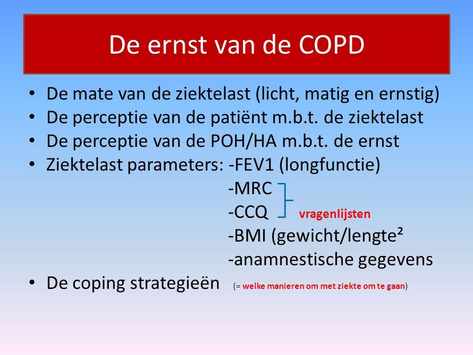 De ernst van de COPD De mate van de ziektelast (licht, matig en ernstig) De perceptie van de patiënt m.b.t. de ziektelast.