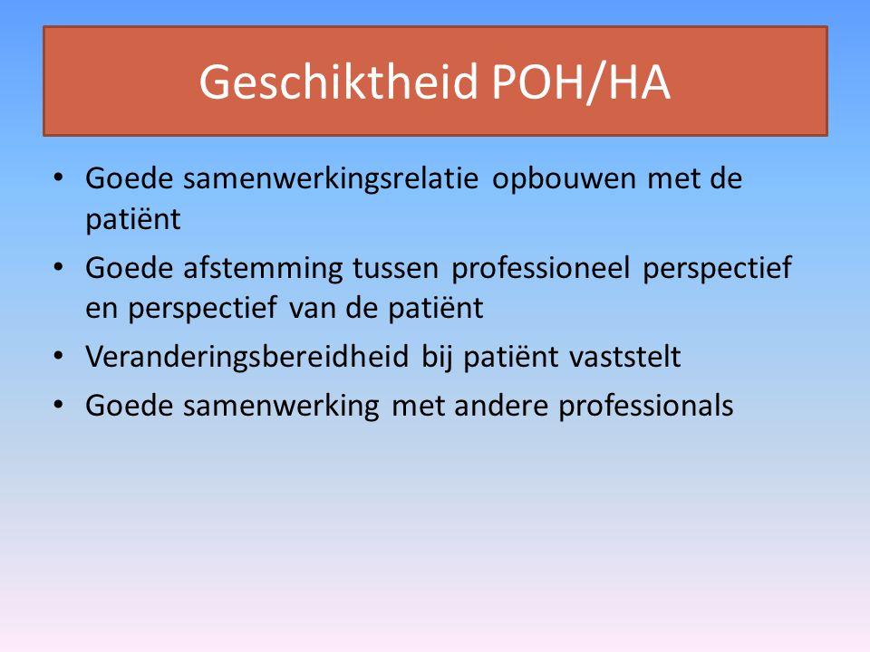 Geschiktheid POH/HA Goede samenwerkingsrelatie opbouwen met de patiënt