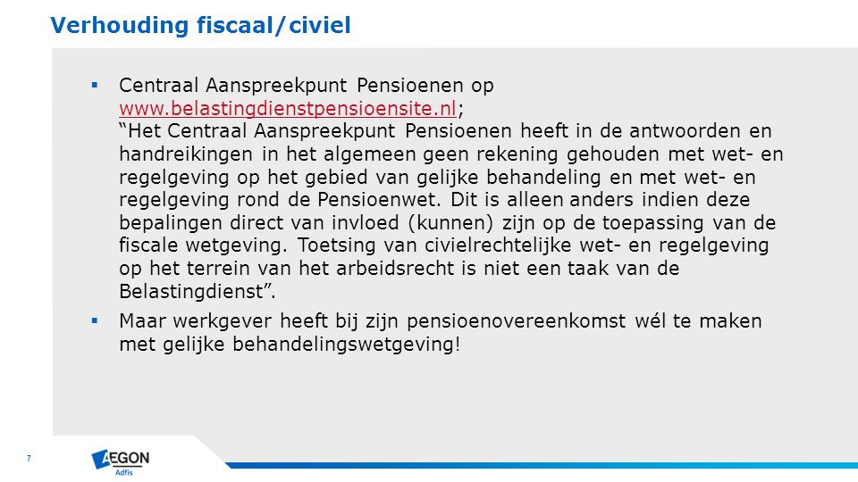 Verhouding fiscaal/civiel
