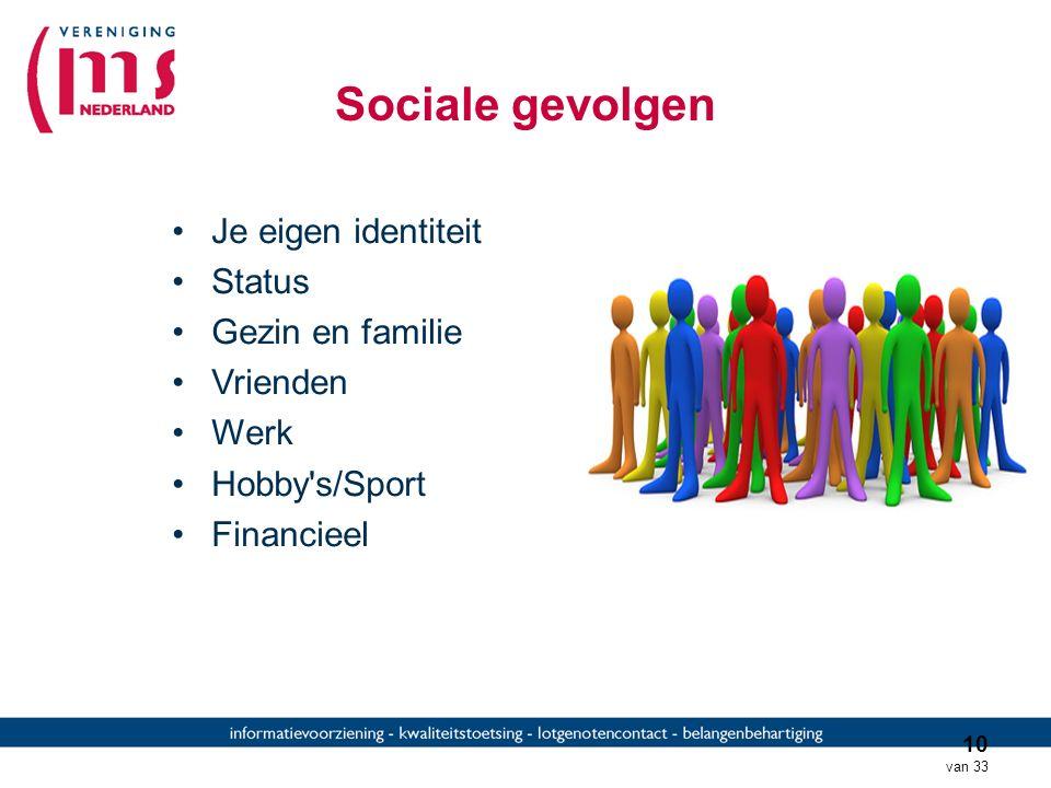 Sociale gevolgen Je eigen identiteit Status Gezin en familie Vrienden