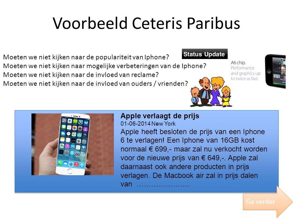 Voorbeeld Ceteris Paribus