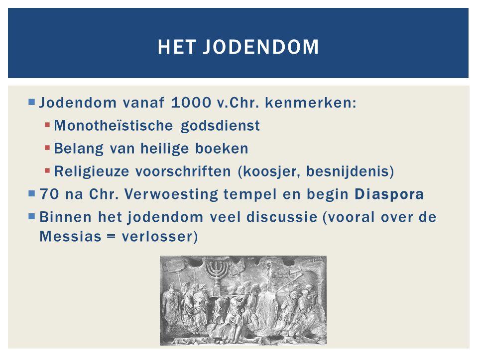 Het Jodendom Jodendom vanaf 1000 v.Chr. kenmerken: