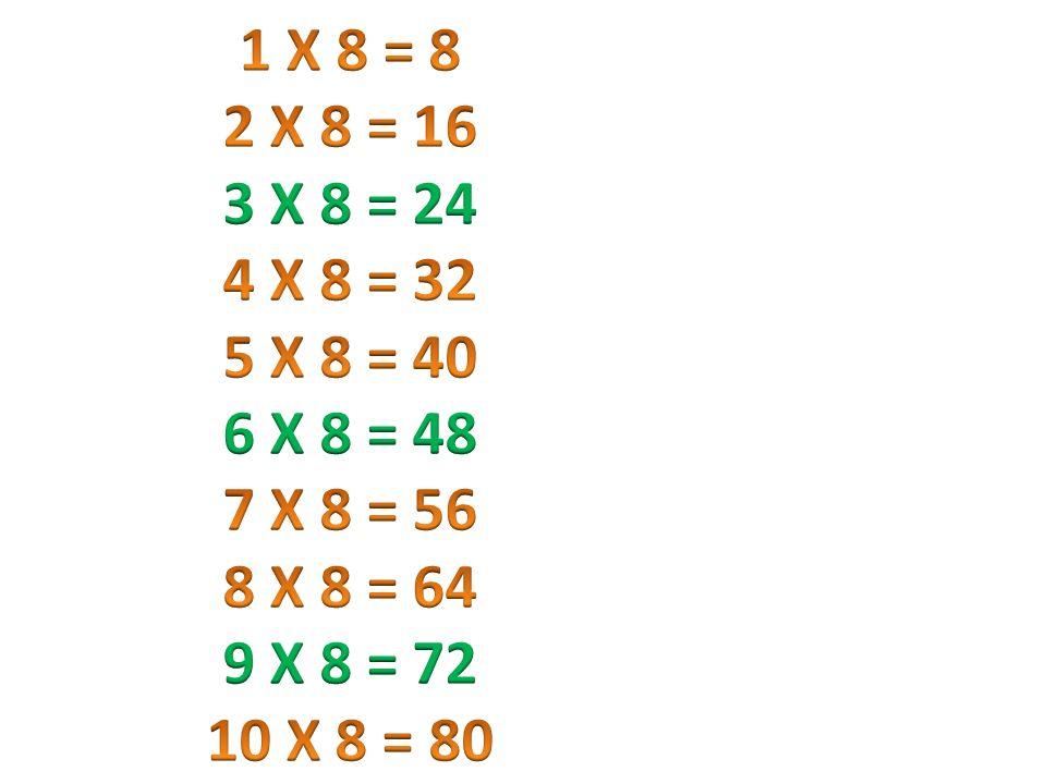 1 X 8 = 8 2 X 8 = 16. 3 X 8 = 24. 4 X 8 = 32. 5 X 8 = 40. 6 X 8 = 48. 7 X 8 = 56. 8 X 8 = 64.