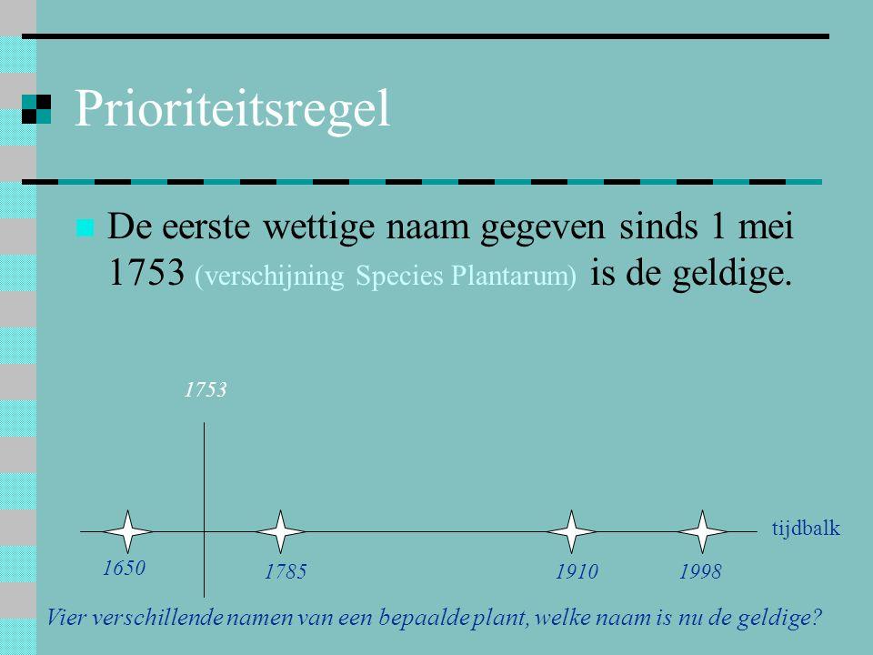 Prioriteitsregel De eerste wettige naam gegeven sinds 1 mei 1753 (verschijning Species Plantarum) is de geldige.