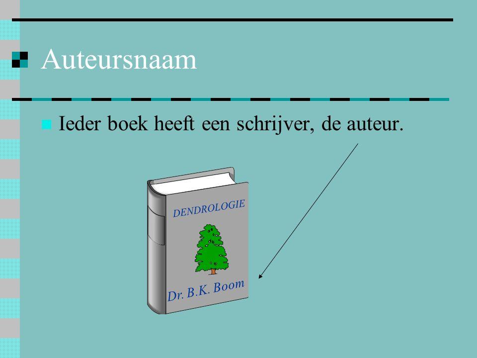 Auteursnaam Ieder boek heeft een schrijver, de auteur. Dr. B.K. Boom