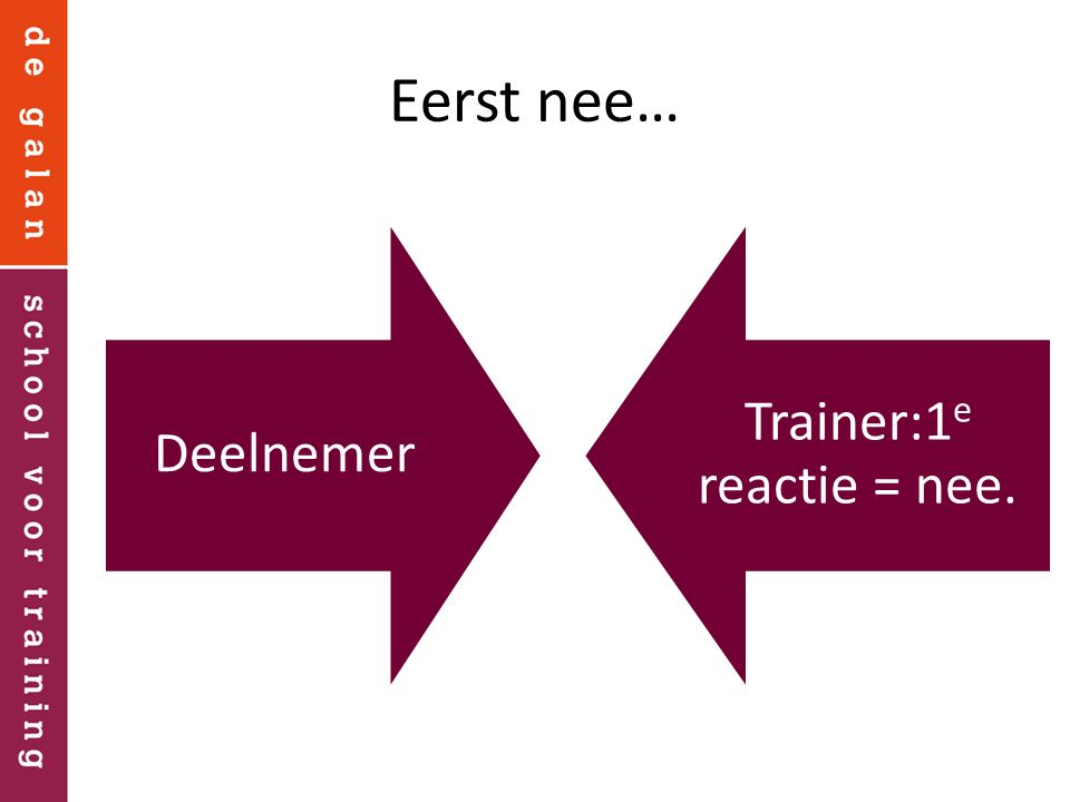 Trainer:1e reactie = nee.