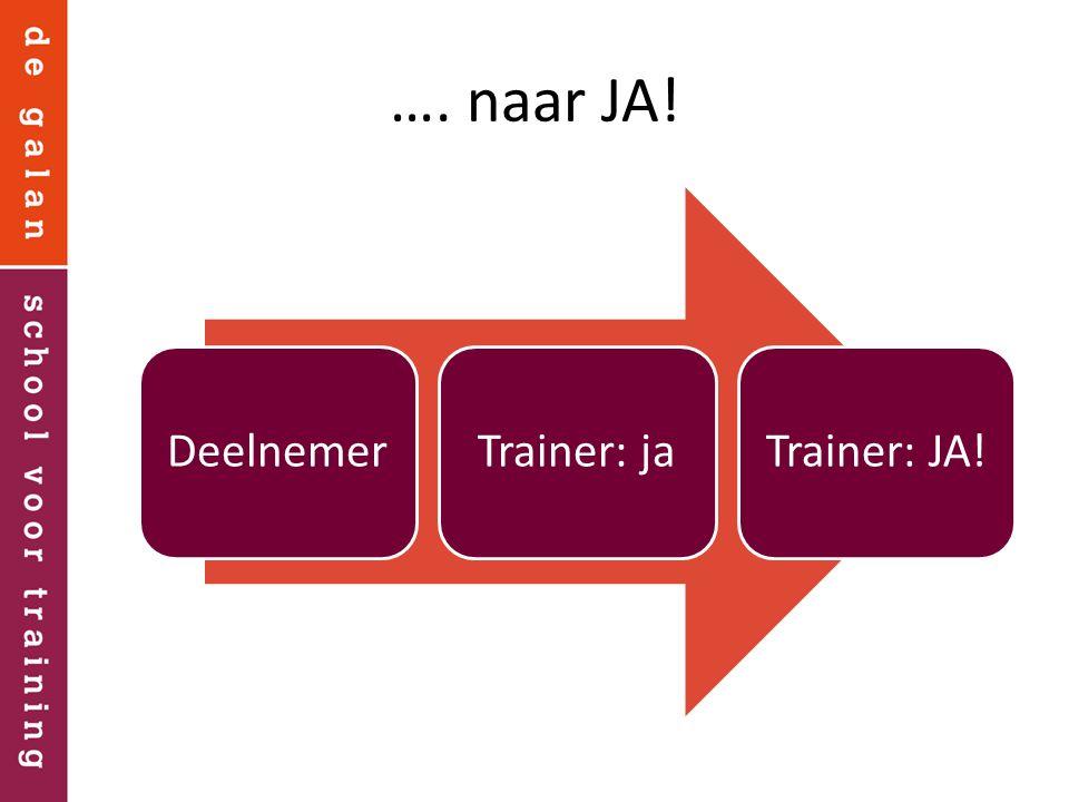 …. naar JA! Deelnemer Trainer: ja Trainer: JA!