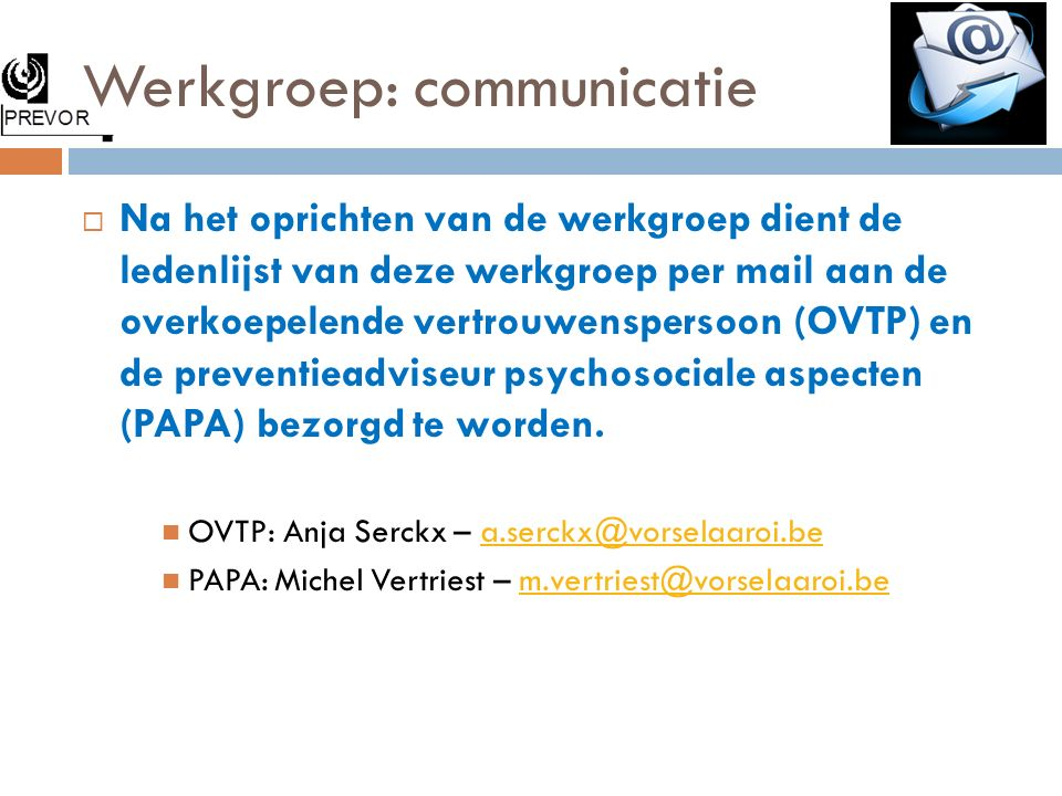 Werkgroep: communicatie