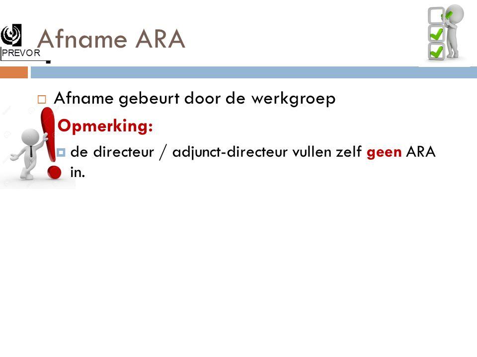 Afname ARA Afname gebeurt door de werkgroep Opmerking: