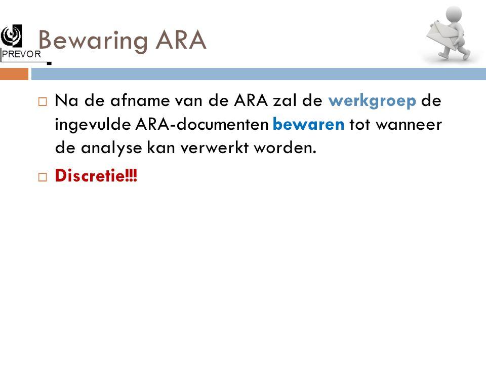 Bewaring ARA Na de afname van de ARA zal de werkgroep de ingevulde ARA-documenten bewaren tot wanneer de analyse kan verwerkt worden.