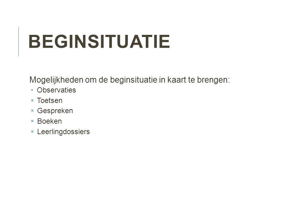 Beginsituatie Mogelijkheden om de beginsituatie in kaart te brengen: