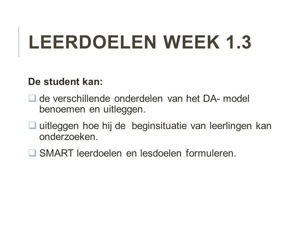 Leerdoelen week 1.3 De student kan: