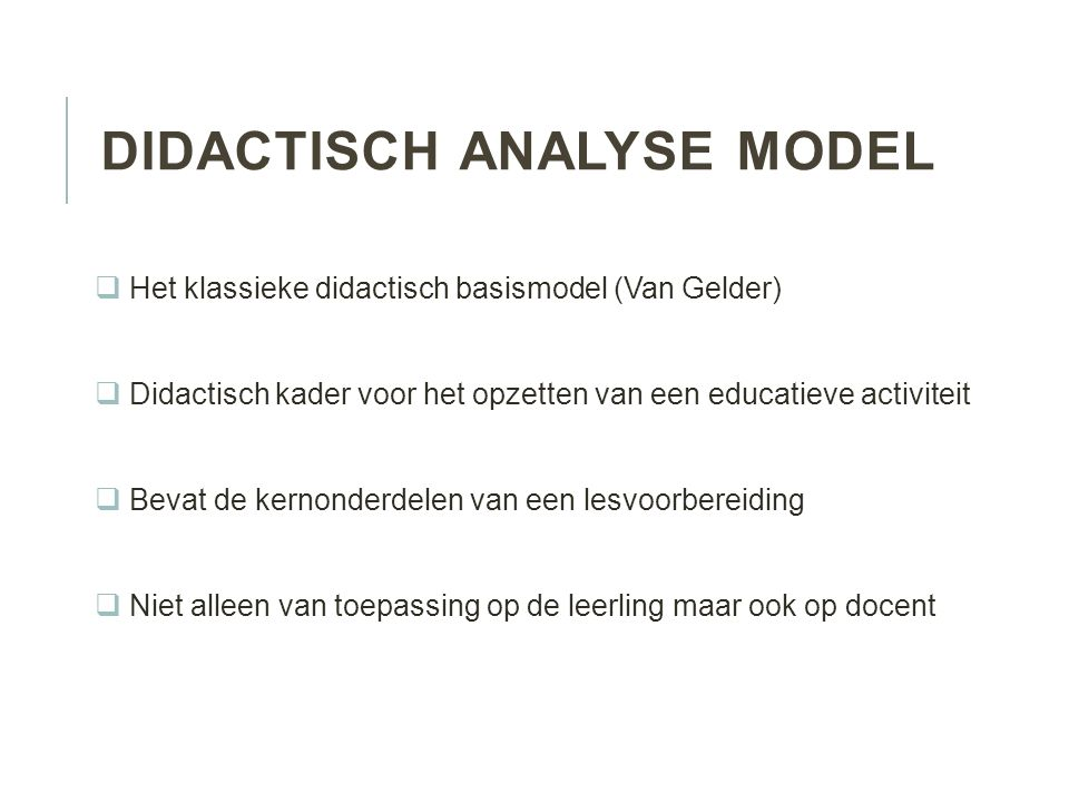 Didactisch analyse model