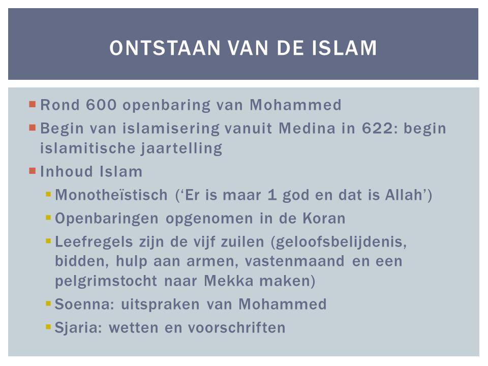 Ontstaan van de Islam Rond 600 openbaring van Mohammed