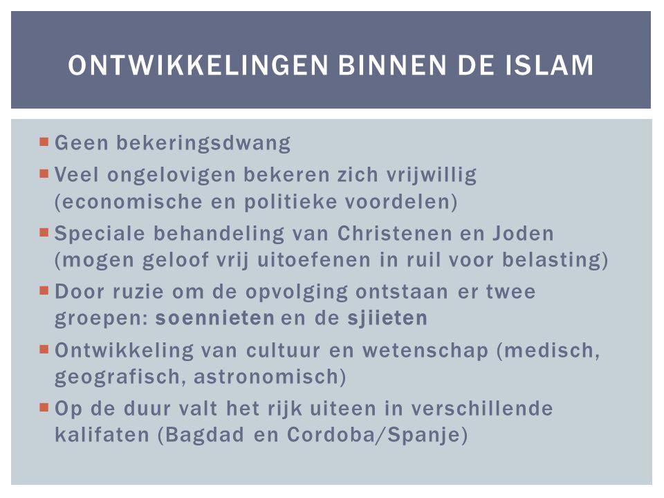 Ontwikkelingen binnen de Islam