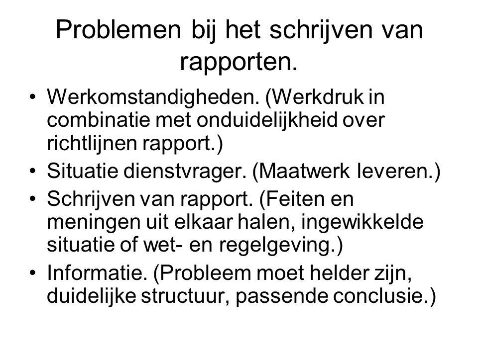 Problemen bij het schrijven van rapporten.