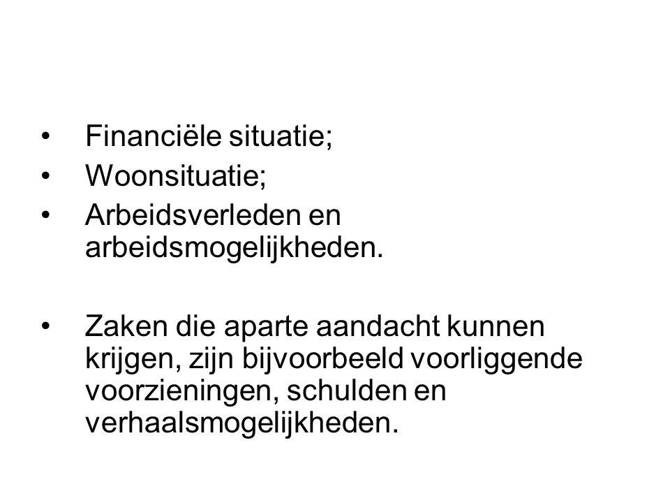 Financiële situatie; Woonsituatie; Arbeidsverleden en arbeidsmogelijkheden.