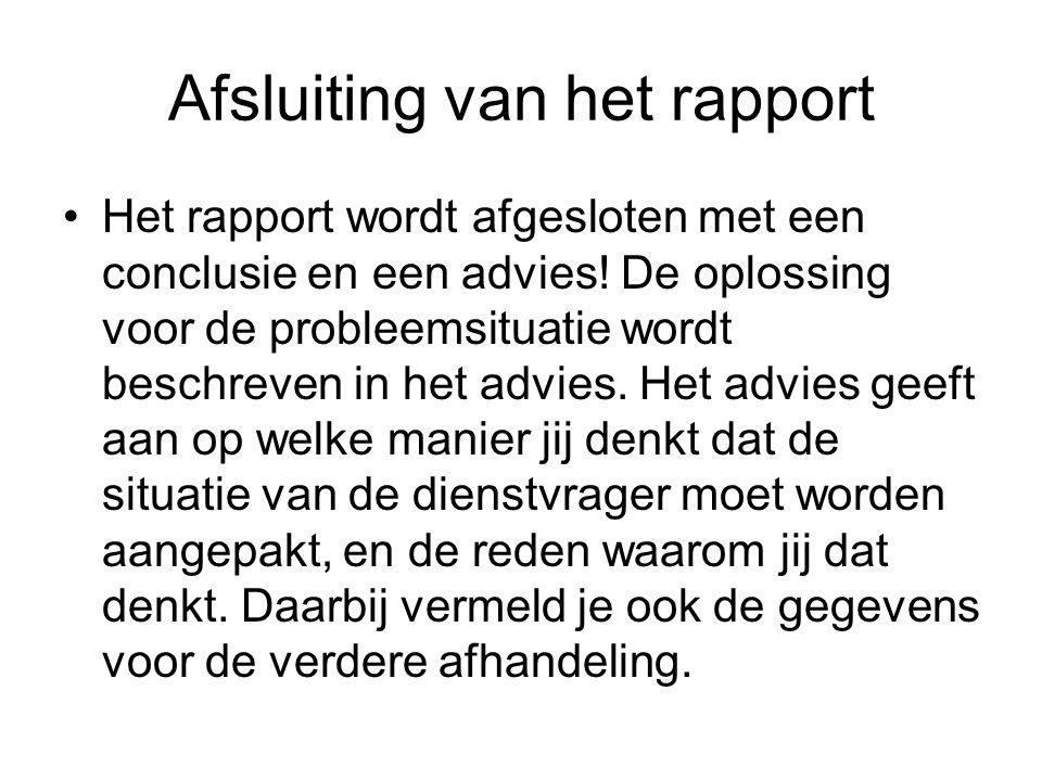 Afsluiting van het rapport