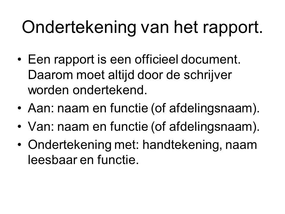 Ondertekening van het rapport.