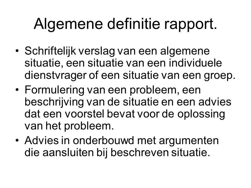 Algemene definitie rapport.