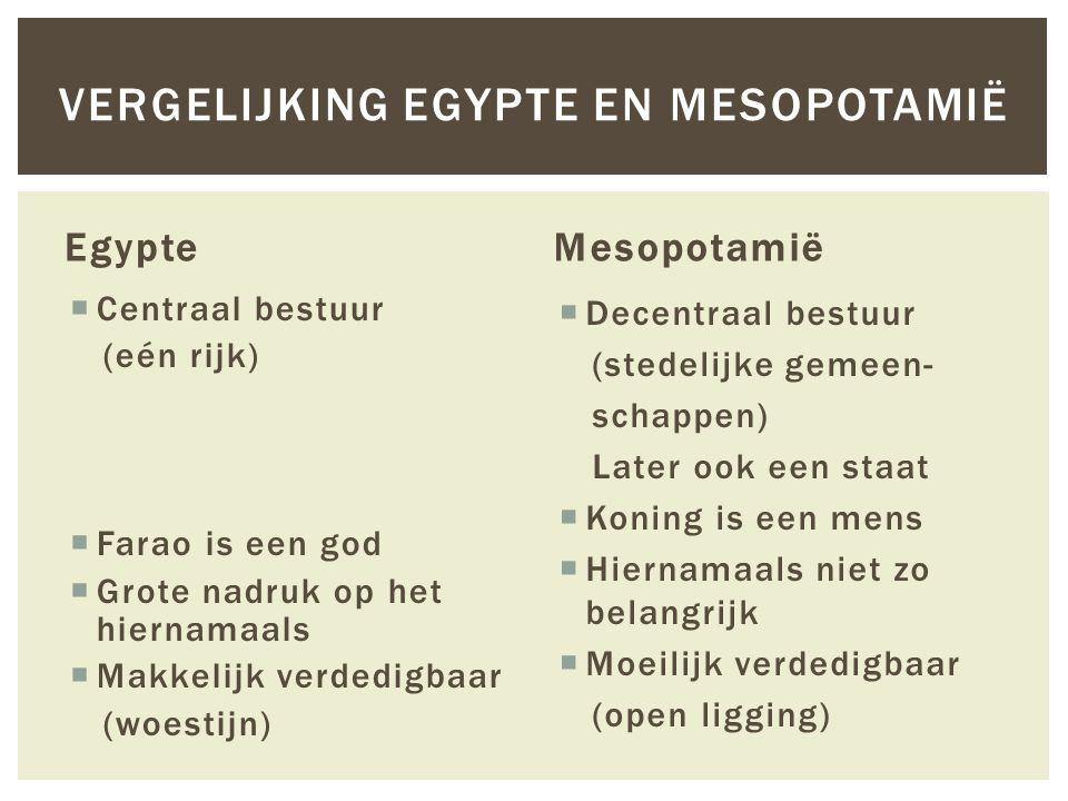 Vergelijking Egypte en Mesopotamië