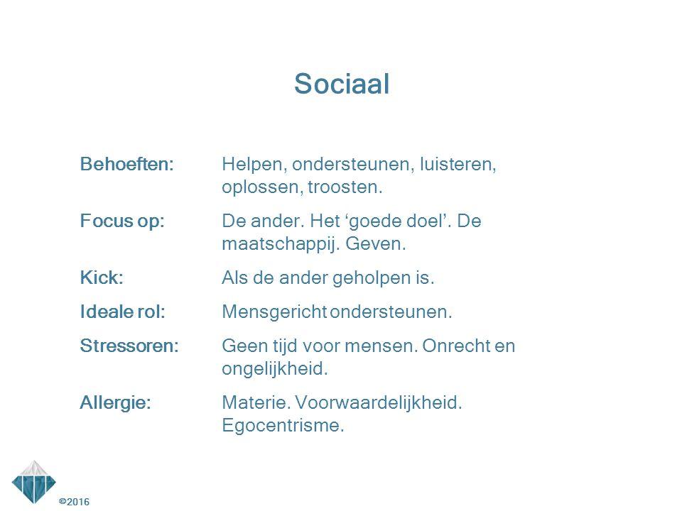 Sociaal Behoeften: Helpen, ondersteunen, luisteren, oplossen, troosten.