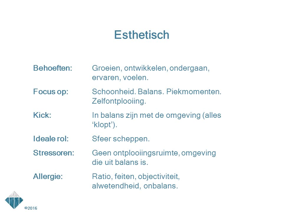 Esthetisch Behoeften: Groeien, ontwikkelen, ondergaan, ervaren, voelen.