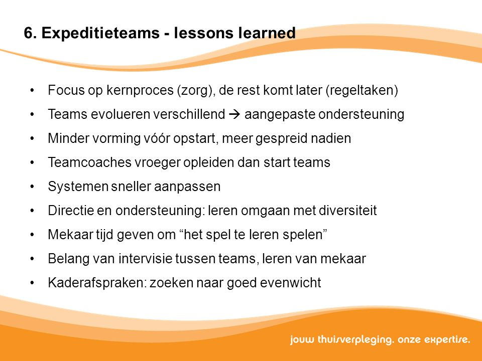 6. Expeditieteams - lessons learned