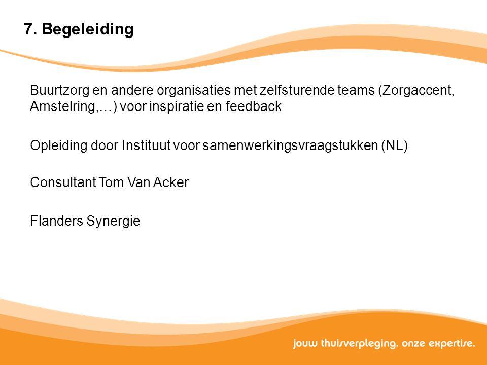 7. Begeleiding Buurtzorg en andere organisaties met zelfsturende teams (Zorgaccent, Amstelring,…) voor inspiratie en feedback.