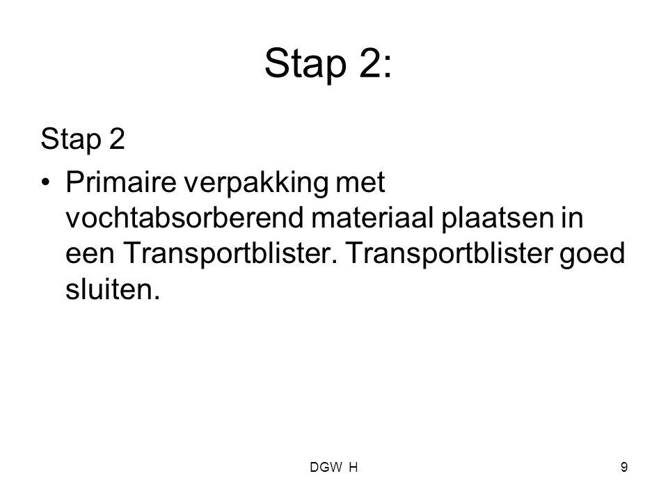 Stap 2: Stap 2. Primaire verpakking met vochtabsorberend materiaal plaatsen in een Transportblister. Transportblister goed sluiten.
