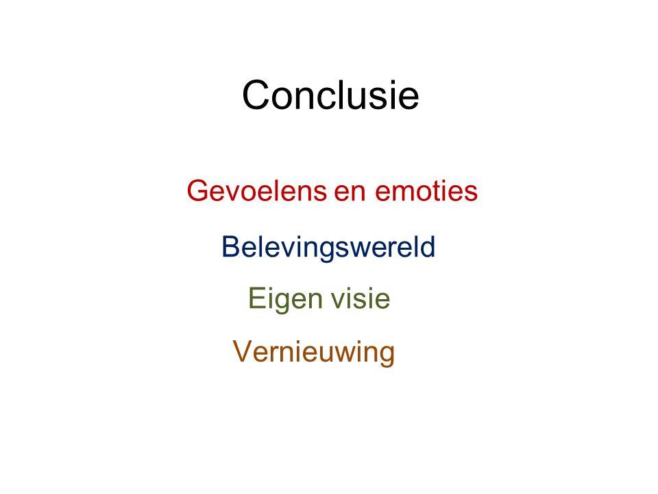 Conclusie Gevoelens en emoties Belevingswereld Eigen visie Vernieuwing