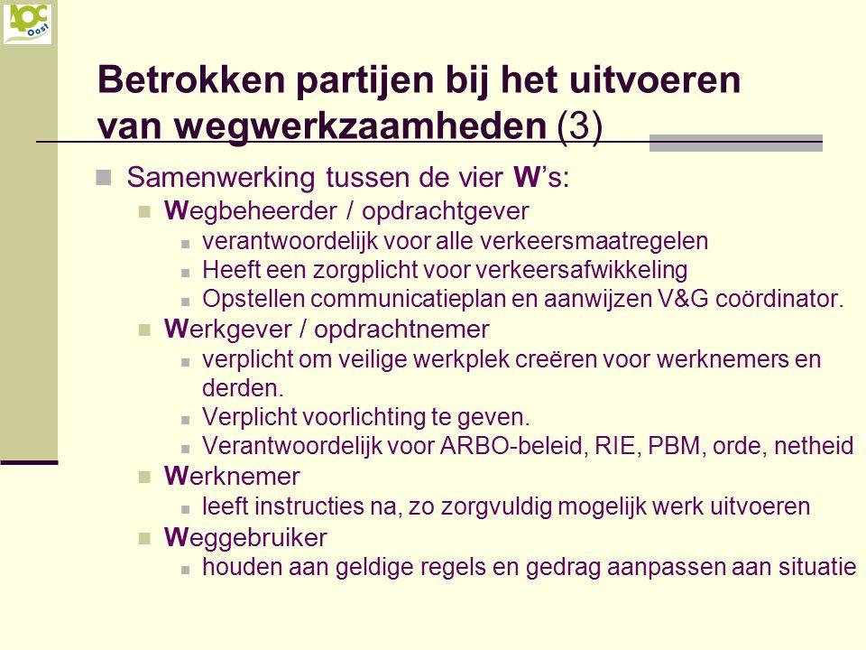 Betrokken partijen bij het uitvoeren van wegwerkzaamheden (3)