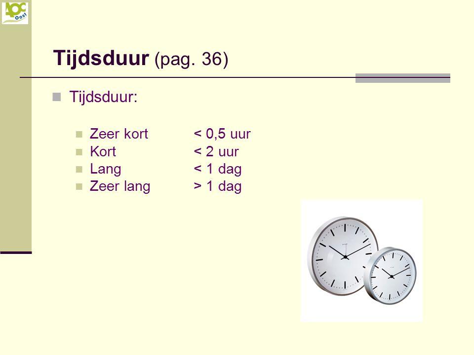 Tijdsduur (pag. 36) Tijdsduur: Zeer kort < 0,5 uur Kort < 2 uur