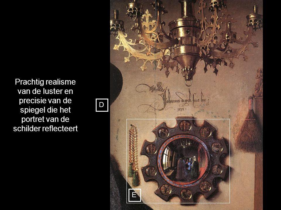 Prachtig realisme van de luster en precisie van de spiegel die het portret van de schilder reflecteert