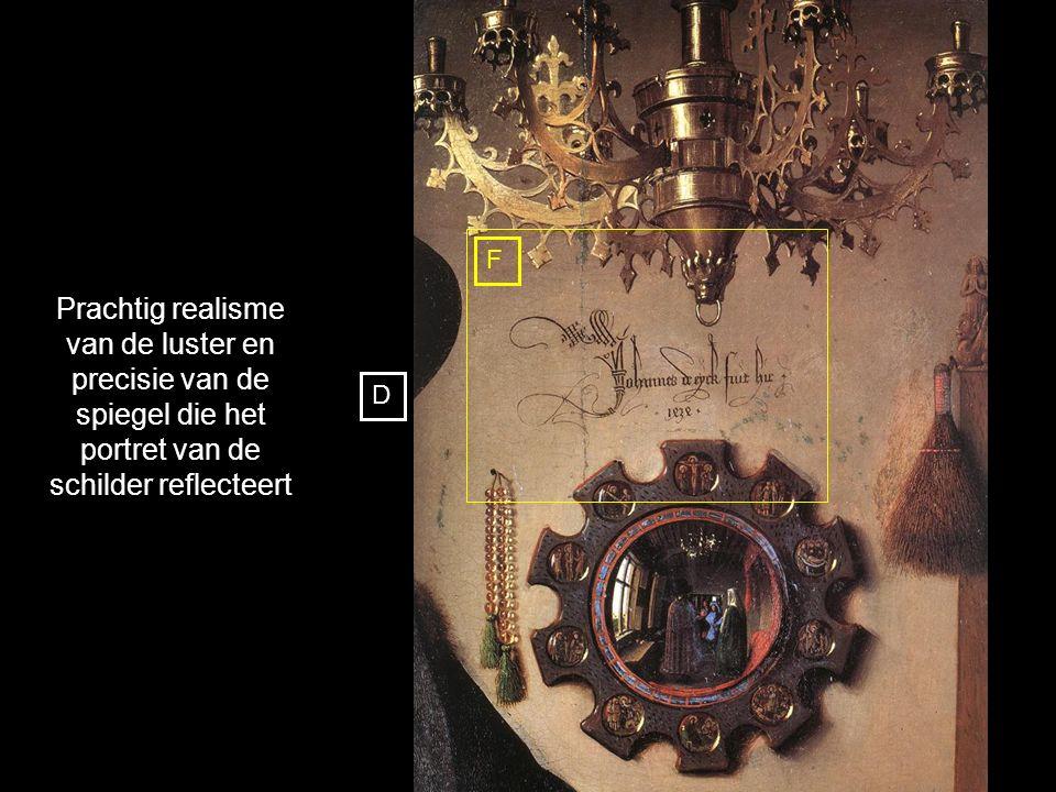 F Prachtig realisme van de luster en precisie van de spiegel die het portret van de schilder reflecteert.