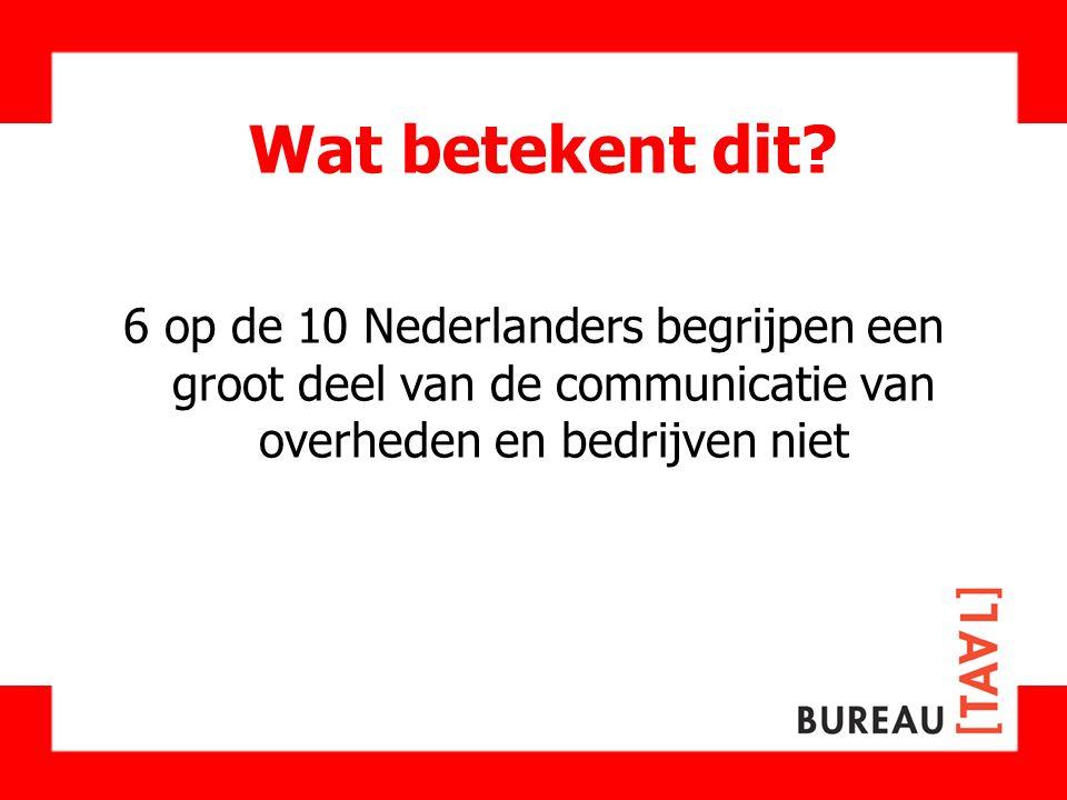 Wat betekent dit 6 op de 10 Nederlanders begrijpen een groot deel van de communicatie van overheden en bedrijven niet.