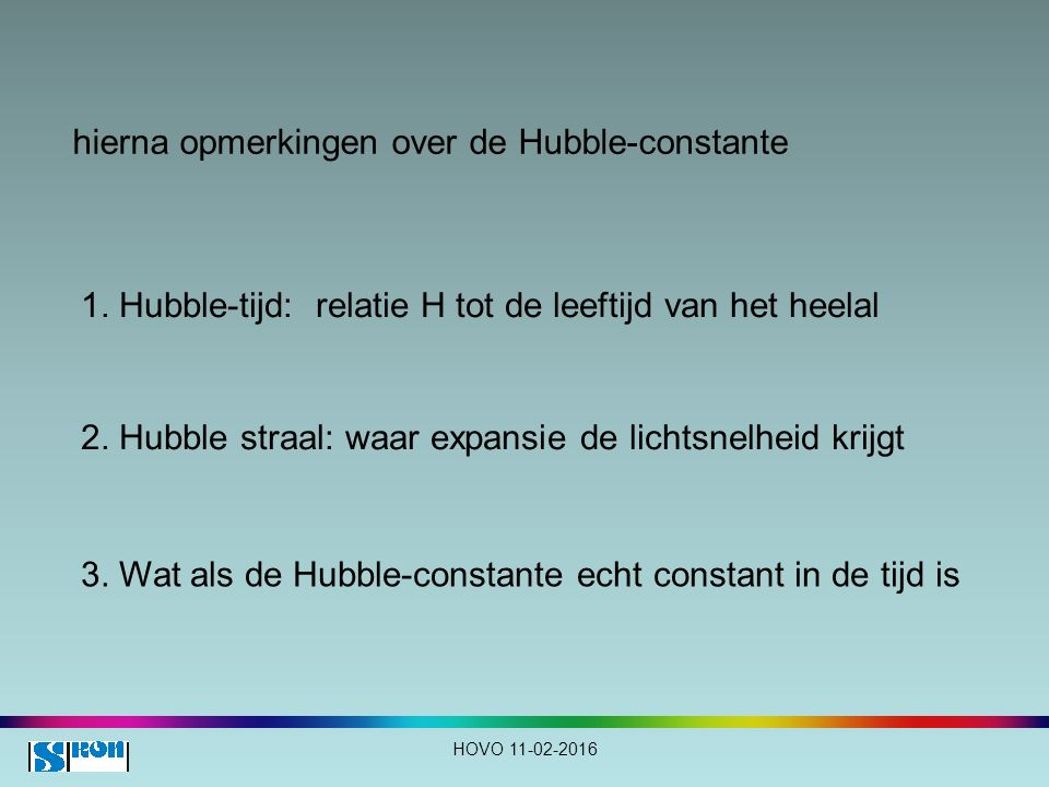 hierna opmerkingen over de Hubble-constante