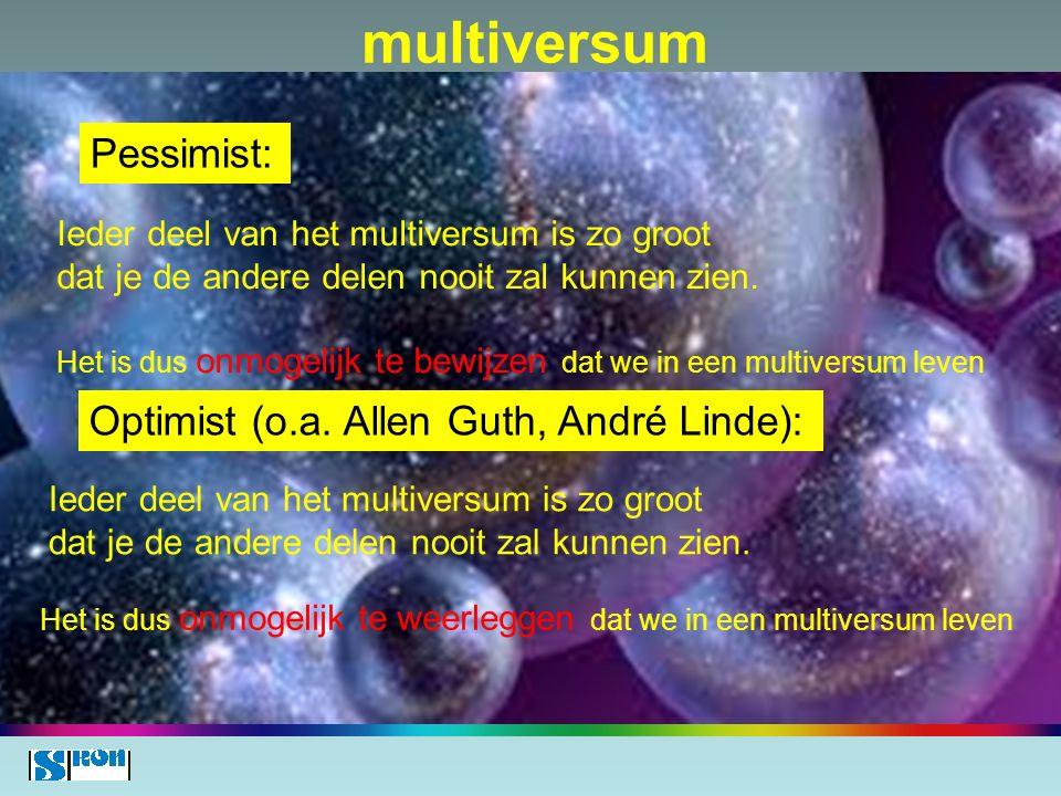 multiversum Pessimist: Optimist (o.a. Allen Guth, André Linde):