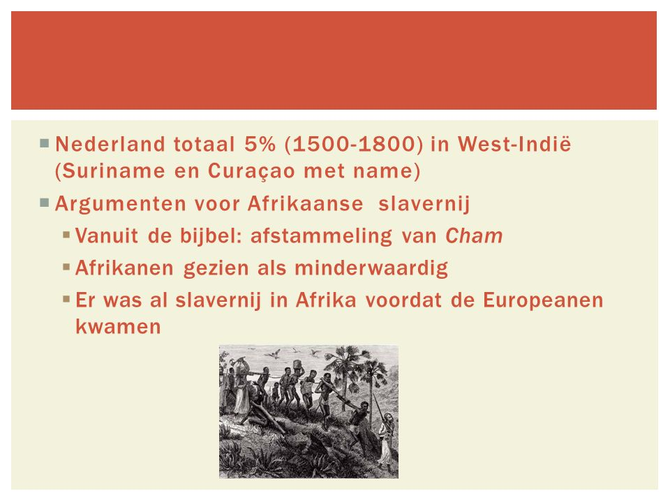 Nederland totaal 5% (1500-1800) in West-Indië (Suriname en Curaçao met name)