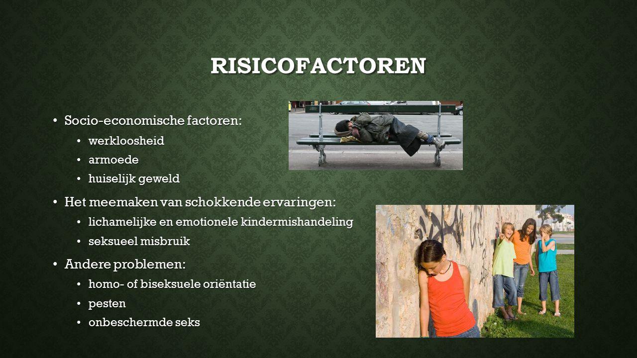 Risicofactoren Socio-economische factoren: