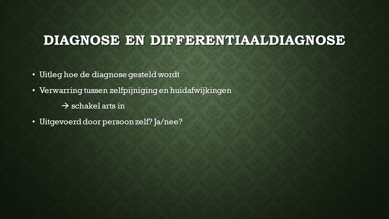 Diagnose en differentiaaldiagnose