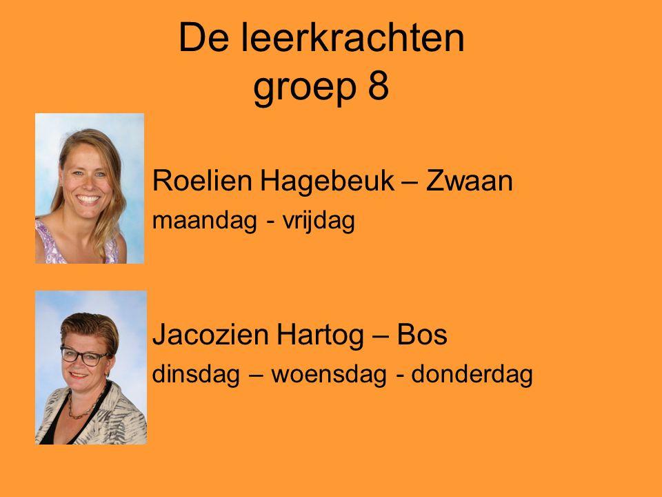 De leerkrachten groep 8 Roelien Hagebeuk – Zwaan Jacozien Hartog – Bos
