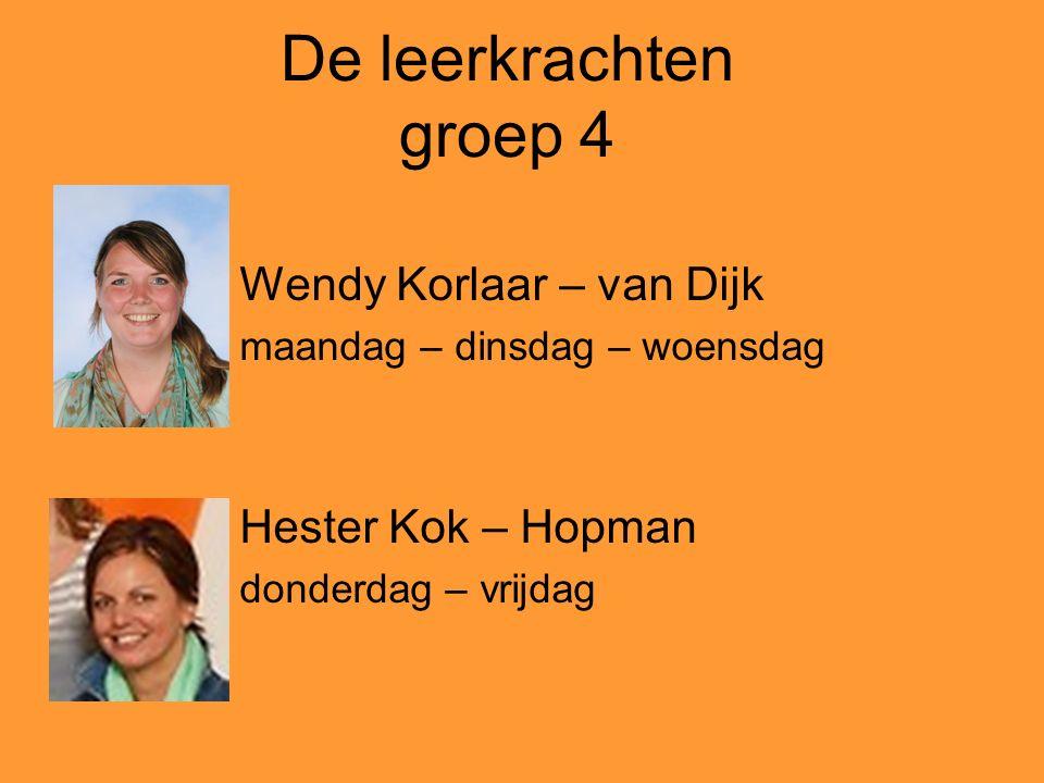 De leerkrachten groep 4 Wendy Korlaar – van Dijk Hester Kok – Hopman